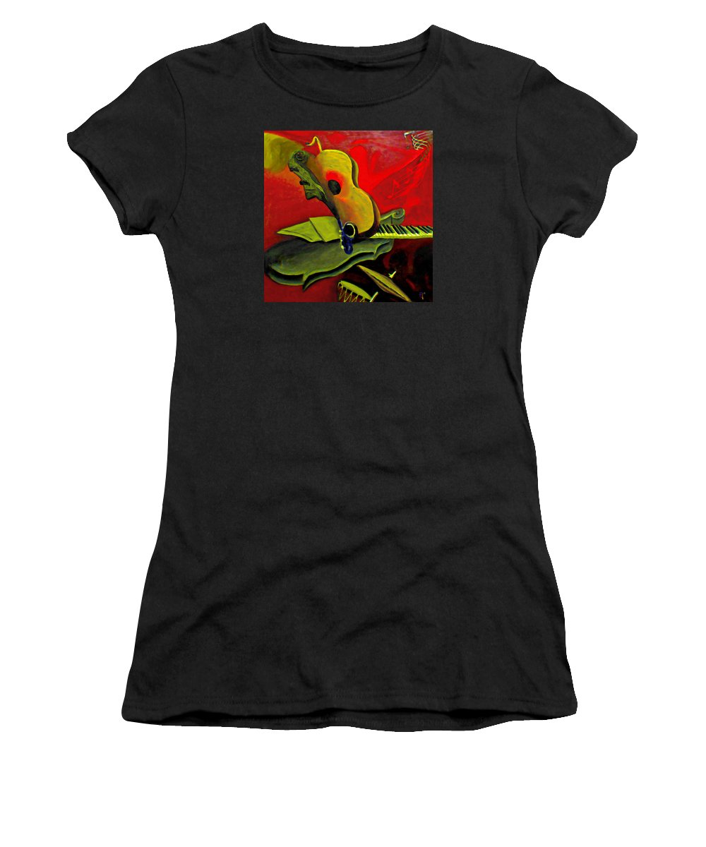 Abstract Women's T-Shirt (Athletic Fit) featuring the painting Jazz Infusion by Fli Art
