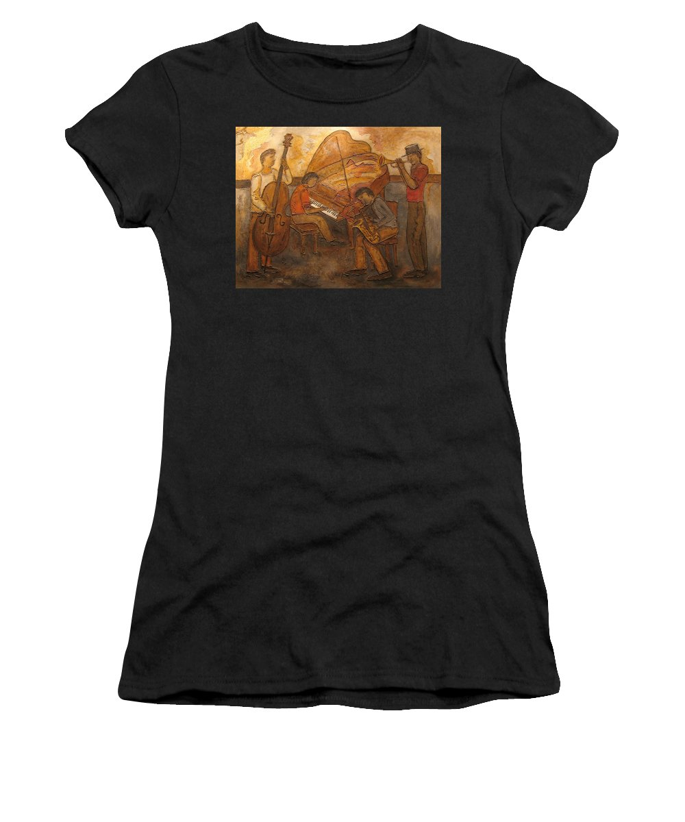Impressionist Women's T-Shirt (Athletic Fit) featuring the painting Jazz Quartet by Anita Burgermeister