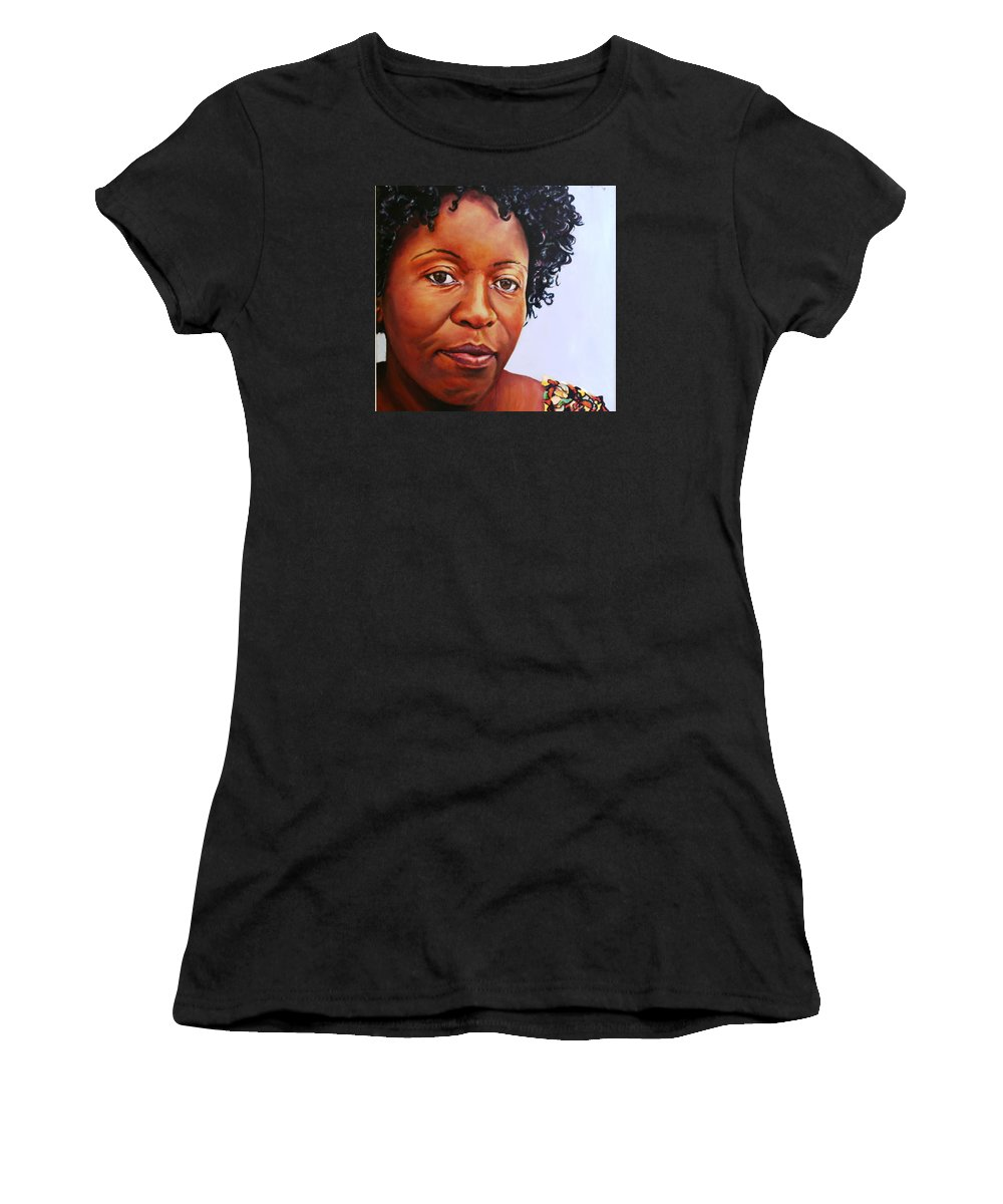 Portrait Women's T-Shirt featuring the painting Jemina by Jolante Hesse