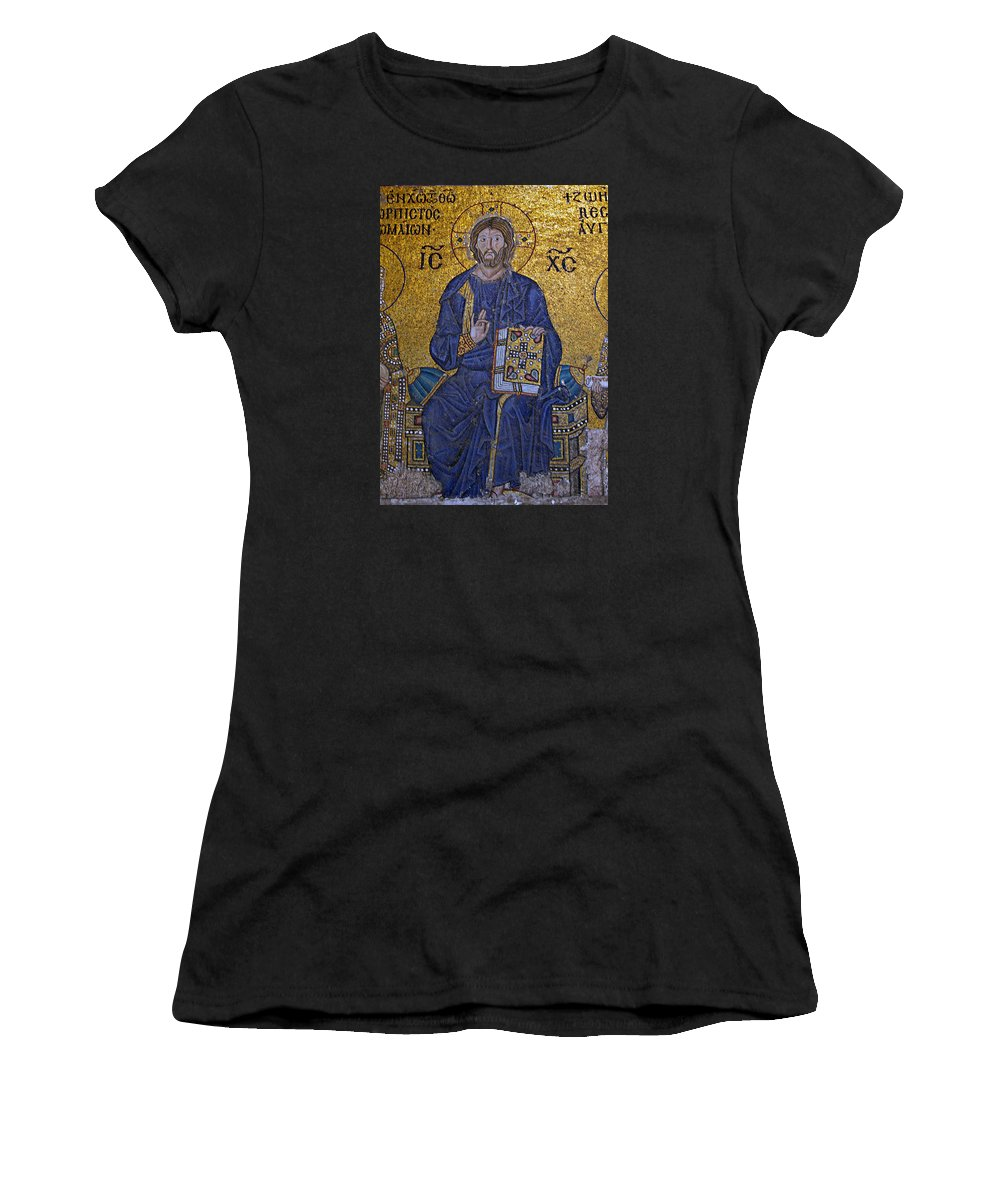 Ancient Women's T-Shirt featuring the photograph Jesus Christ Mosaic by Stephen Stookey