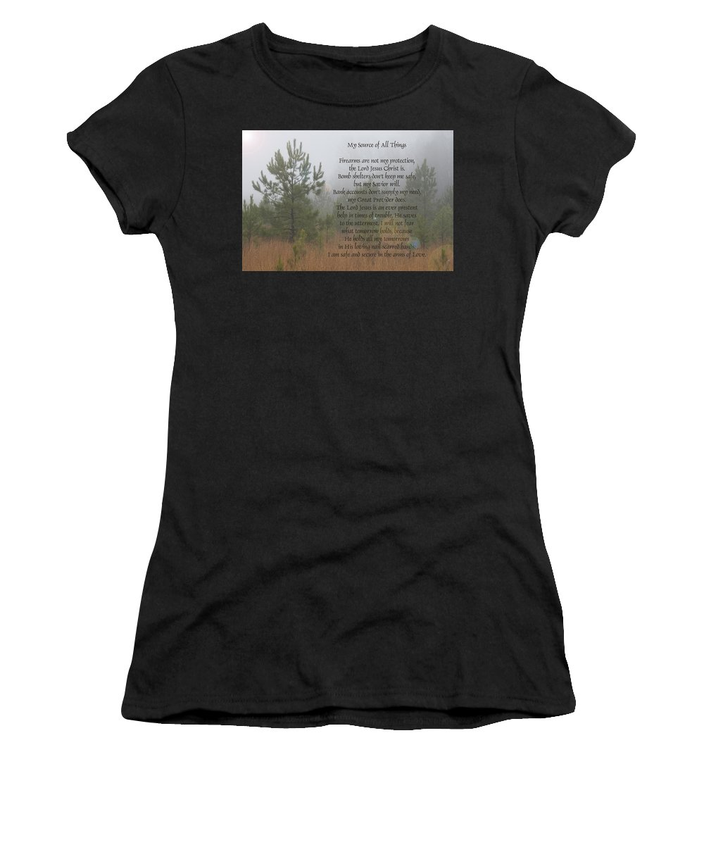 Jesus Women's T-Shirt (Athletic Fit) featuring the photograph Jesus My Source Of All Things by Kathy Clark