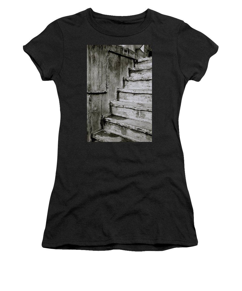 India Women's T-Shirt (Athletic Fit) featuring the photograph The Monochrome Steps by Shaun Higson