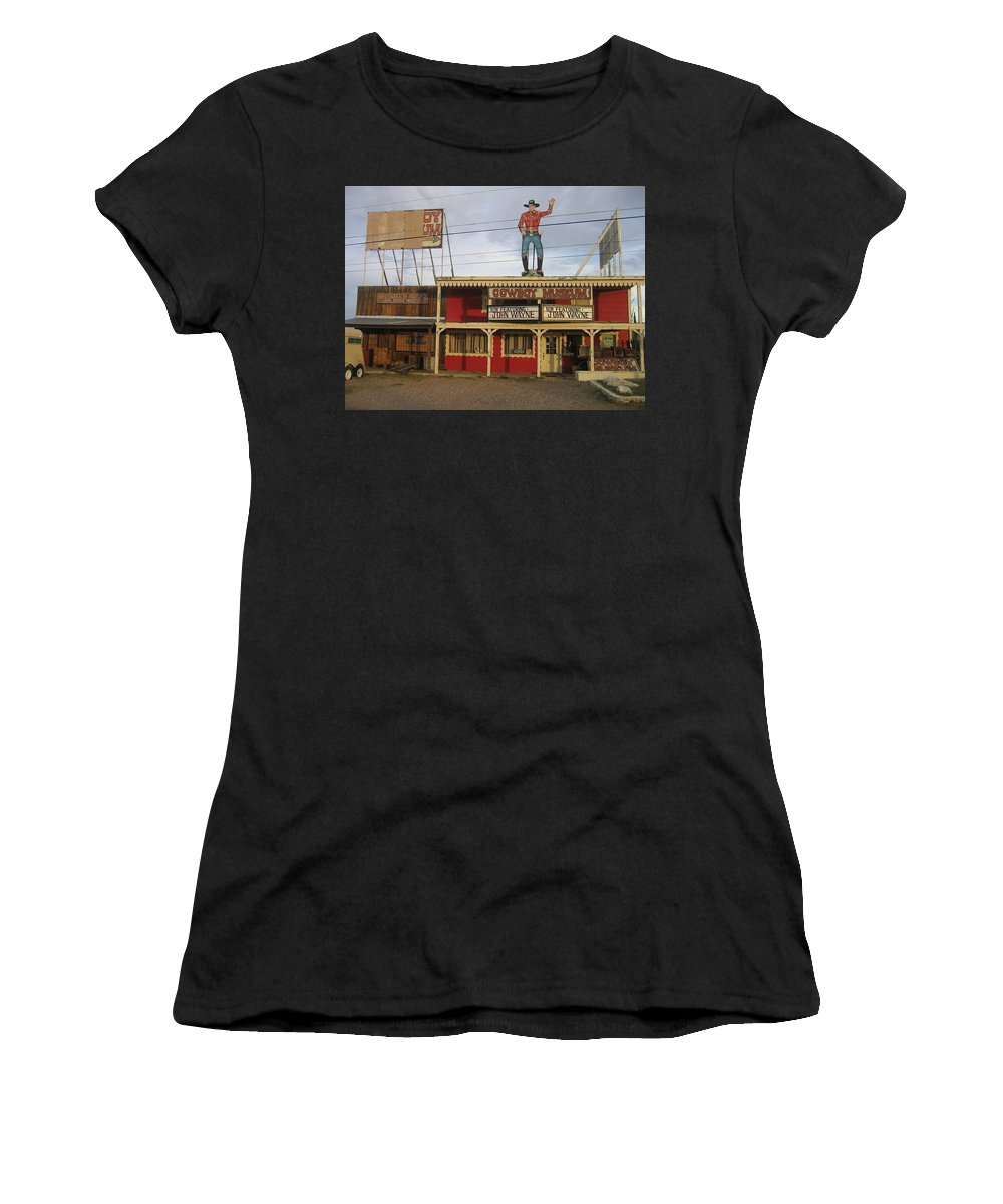 John Wayne Cowboy Museum Tombstone Arizona 2004 Ringo Kid Stagecoach Women's T-Shirt (Athletic Fit) featuring the photograph John Wayne Cowboy Museum Tombstone Arizona 2004 by David Lee Guss