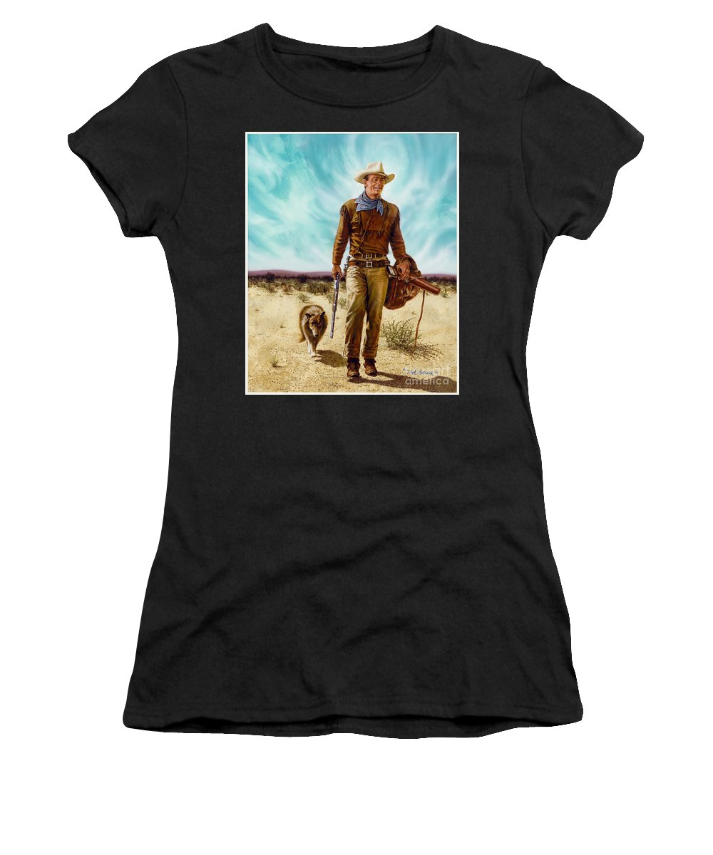 Portrait Women's T-Shirt (Athletic Fit) featuring the painting John Wayne Hondo by Dick Bobnick