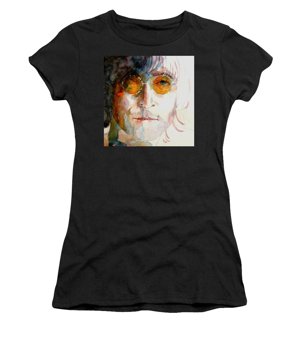John Lennon Women's T-Shirt featuring the painting John Winston Lennon by Paul Lovering