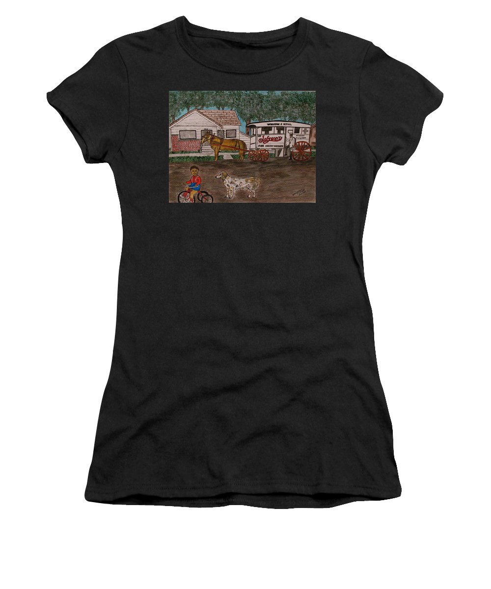 Johnson Creamery Women's T-Shirt (Athletic Fit) featuring the painting Johnsons Milk Wagon Pulled By A Horse by Kathy Marrs Chandler