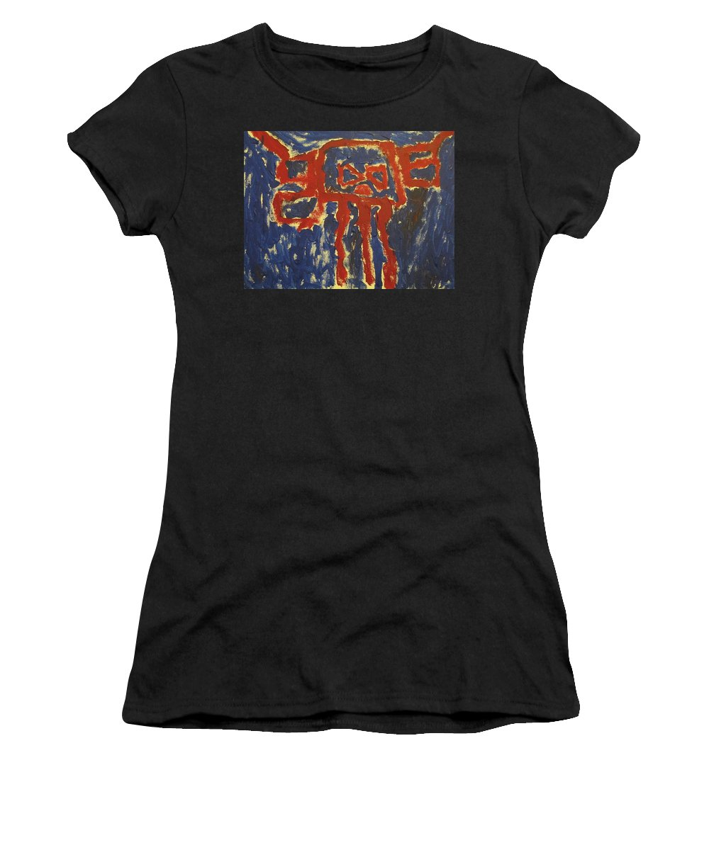 Red And Dark Blue Fantaly Impressionistic Painting. Women's T-Shirt featuring the painting J's Interpretation by Barbara Yearty