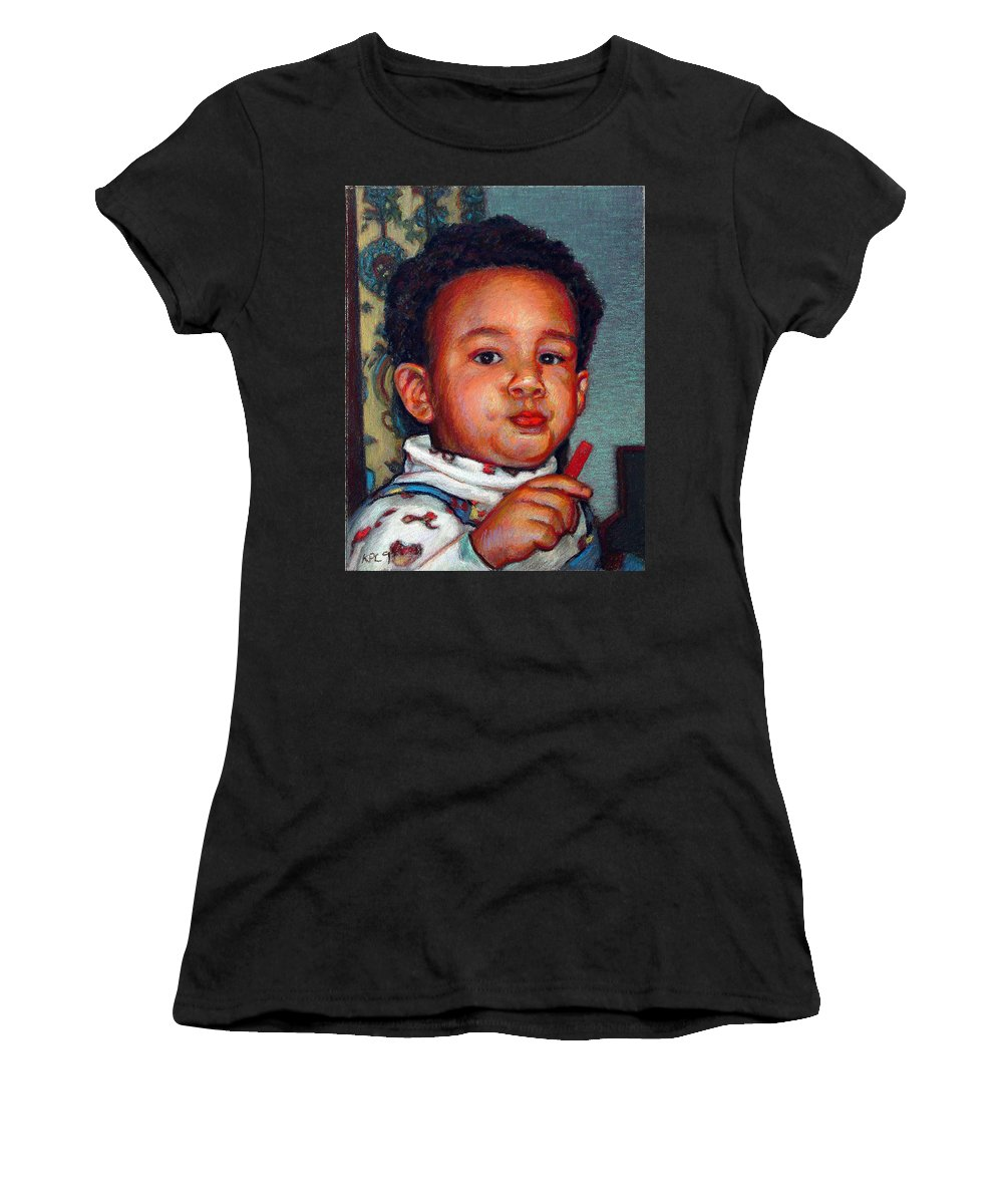 Portraits Women's T-Shirt featuring the pastel Julian by Kenneth Cobb