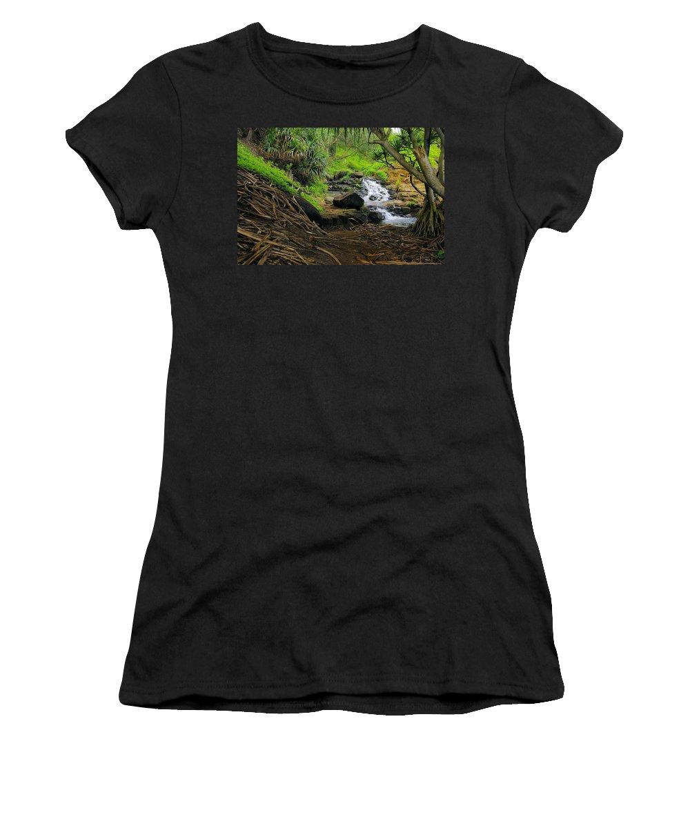 Jungle Women's T-Shirt featuring the photograph Jungle Stream Kauai by John Greaves