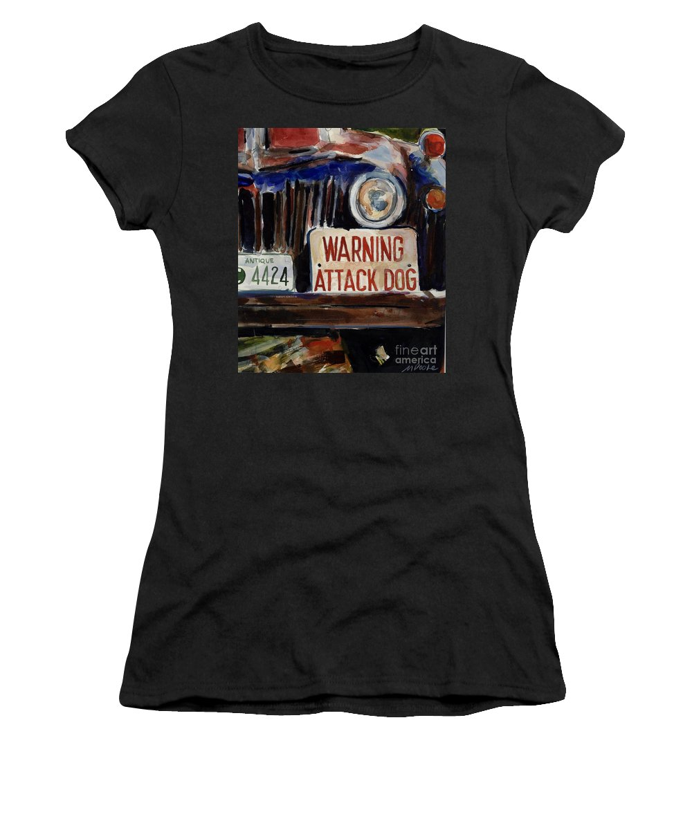 Junkyard Women's T-Shirt featuring the painting Junkyard Dog by Molly Poole