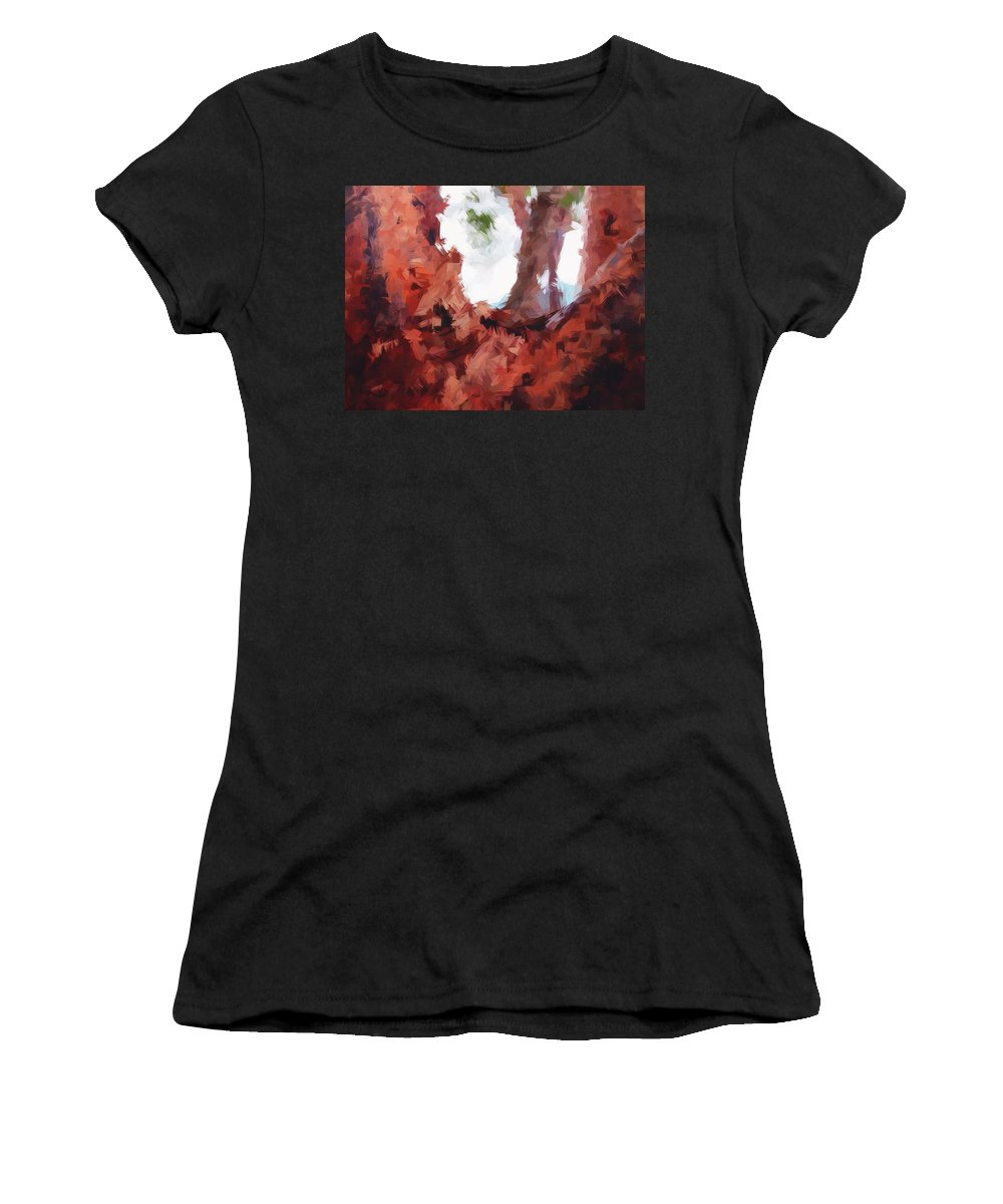 Tree Women's T-Shirt (Athletic Fit) featuring the painting Just Your Average Tree by Robert Margetts