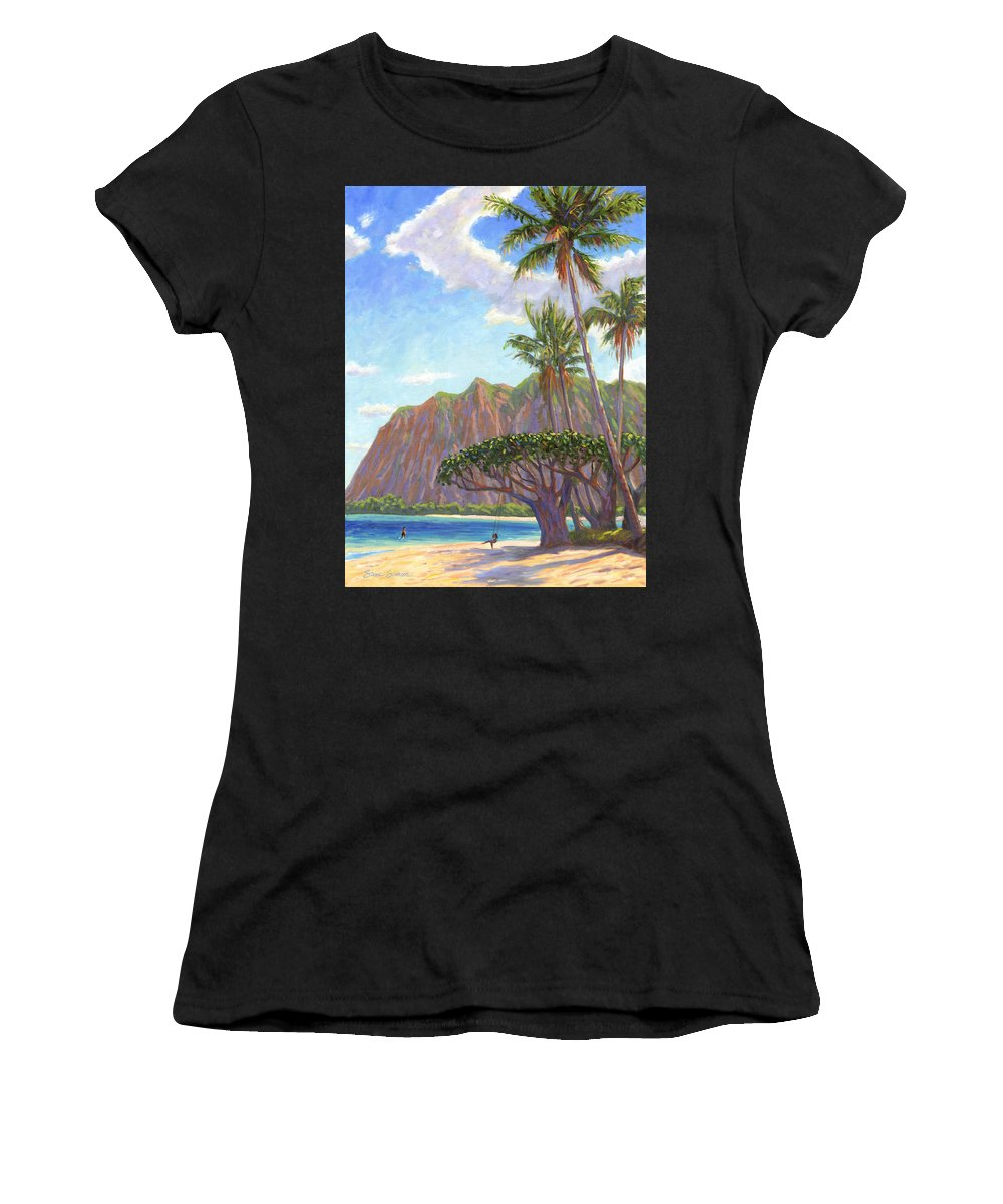 Kaaawa Women's T-Shirt (Athletic Fit) featuring the painting Kaaawa Beach - Oahu by Steve Simon