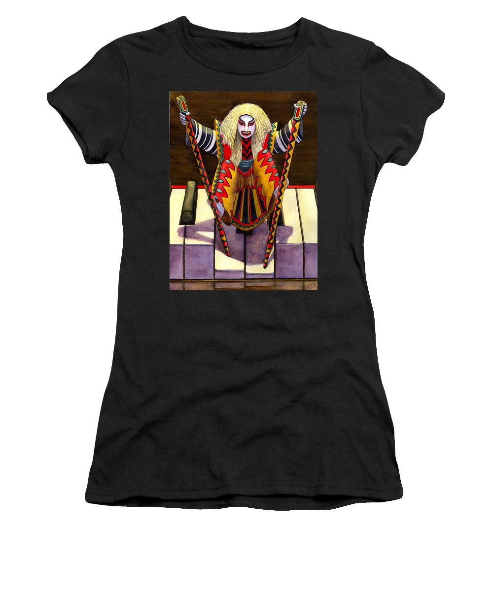 Kabuki Women's T-Shirt featuring the painting Kabuki Chopsticks 1 by Catherine G McElroy
