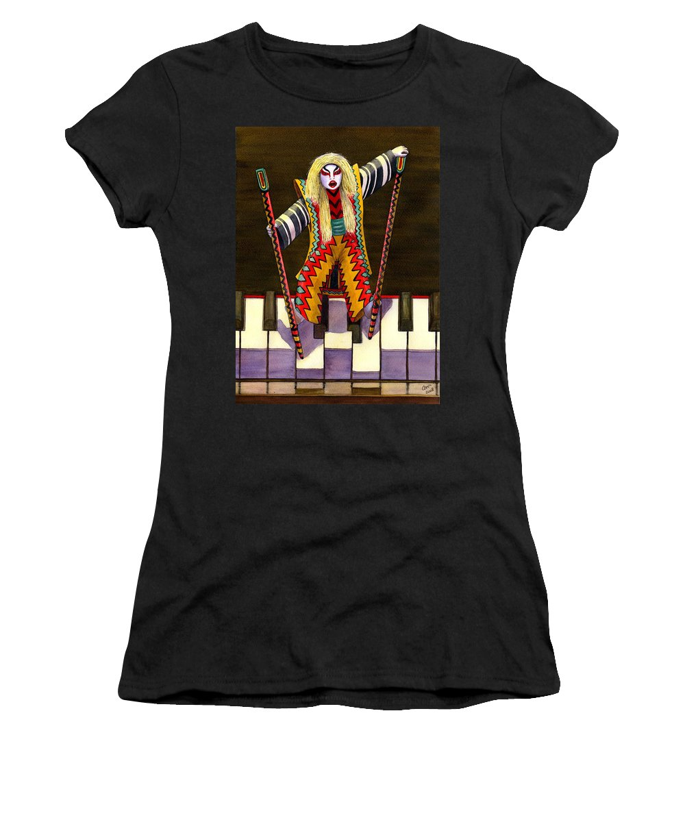 Kabuki Women's T-Shirt (Athletic Fit) featuring the painting Kabuki Chopsticks 2 by Catherine G McElroy