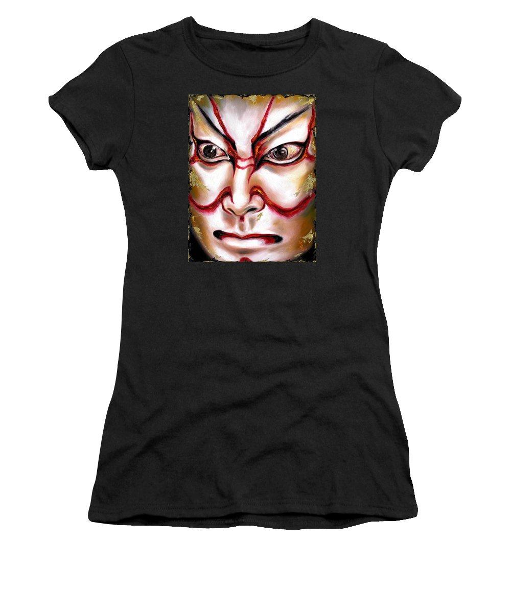 Kabuki Women's T-Shirt (Athletic Fit) featuring the painting Kabuki One by Hiroko Sakai