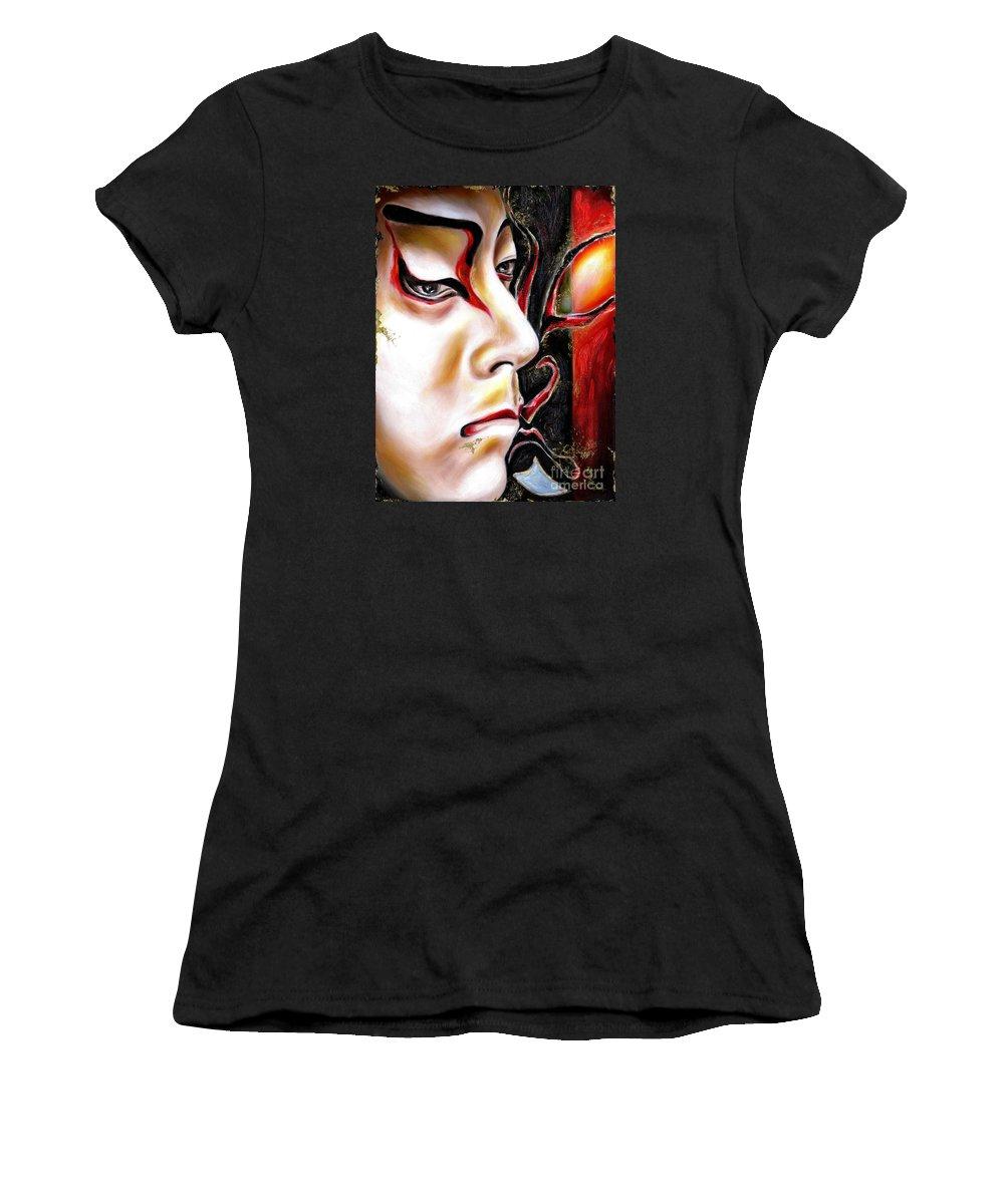 Kabuki Women's T-Shirt (Athletic Fit) featuring the painting Kabuki Three by Hiroko Sakai