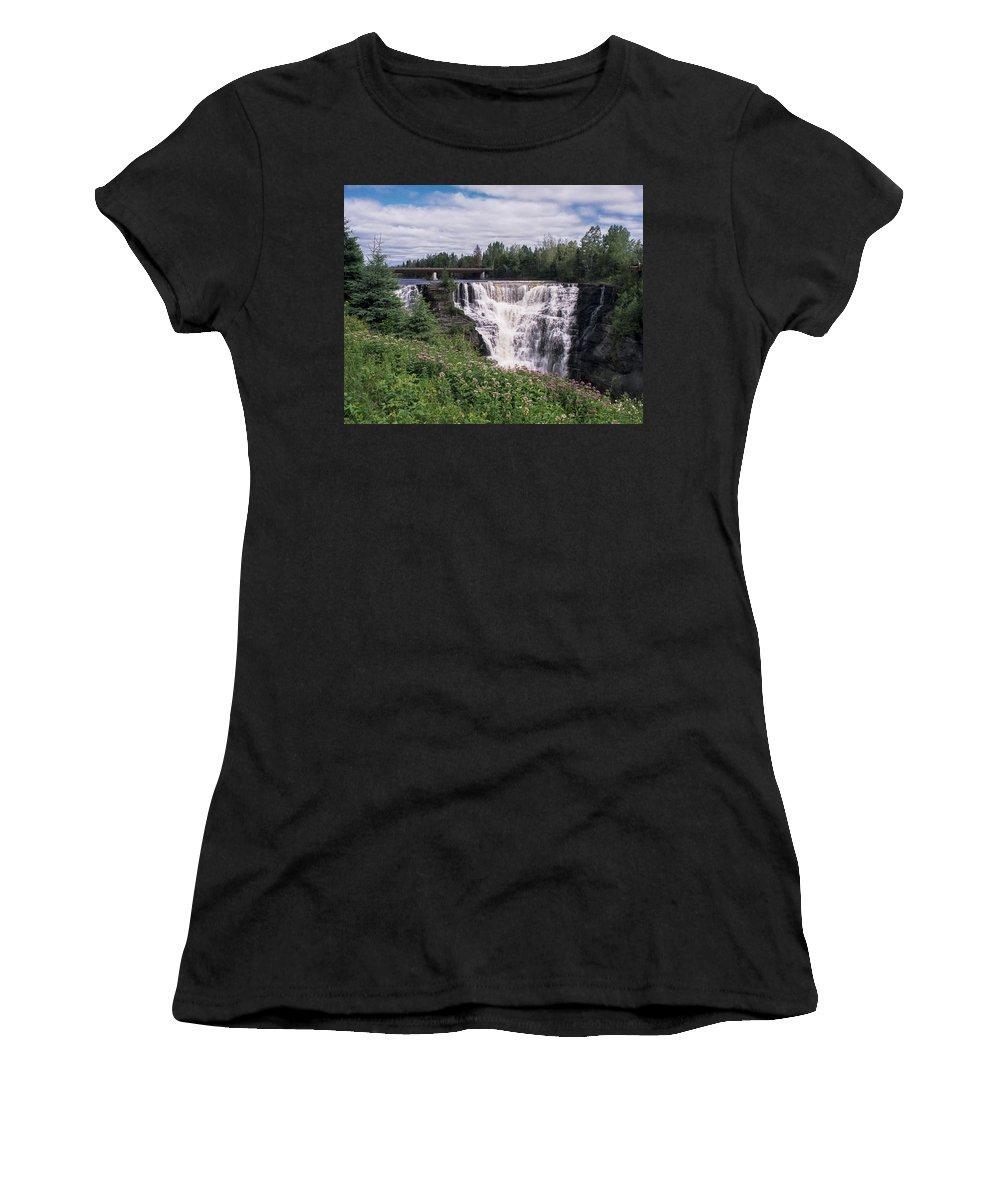 Kakabeka Women's T-Shirt (Athletic Fit) featuring the photograph Kakabeka Falls by Richard Kitchen