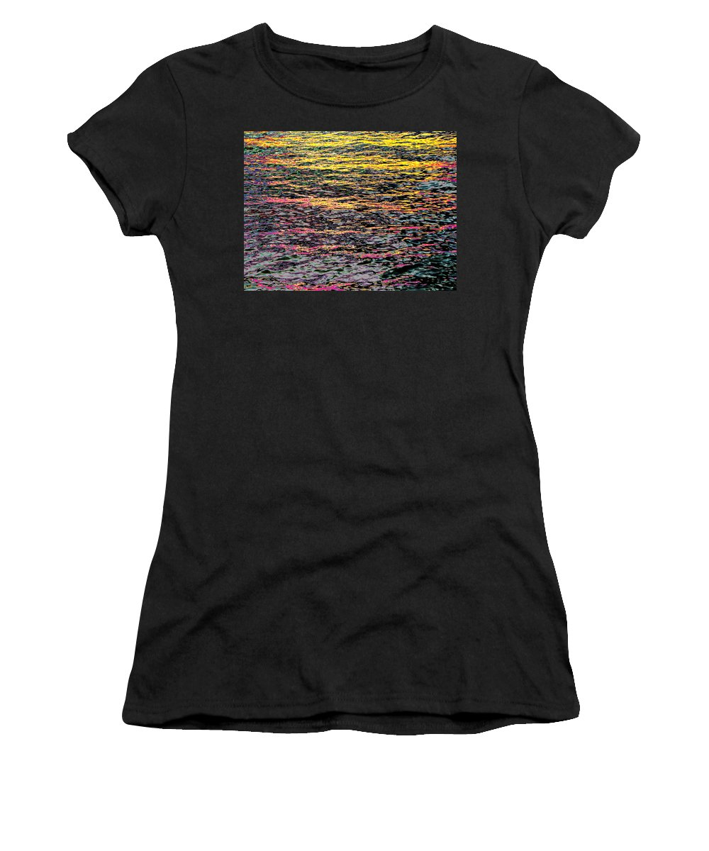 Kaleidoscope Women's T-Shirt (Athletic Fit) featuring the photograph Kaleidoscope Ocean by Ron Tackett