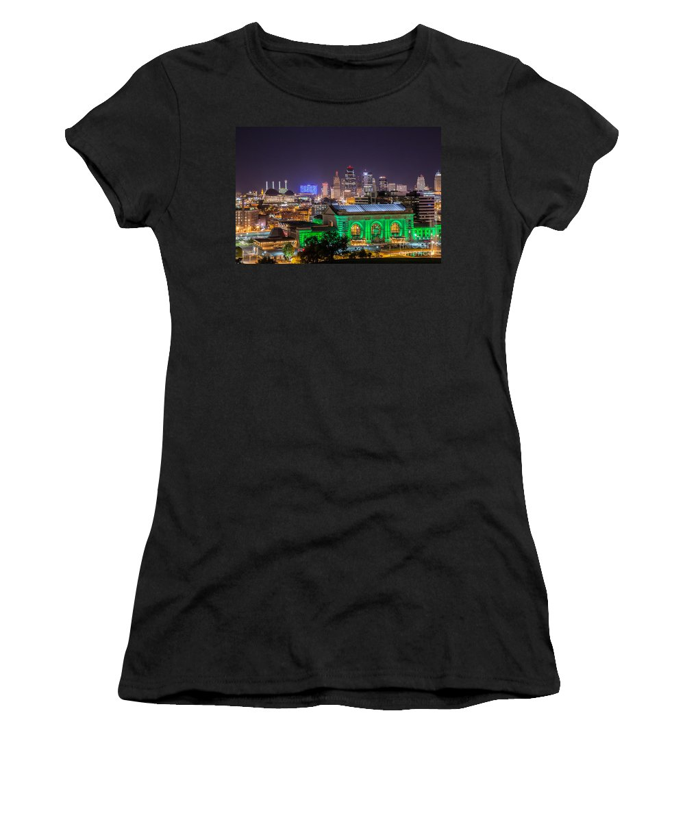 Downtown Kc Women's T-Shirt (Athletic Fit) featuring the photograph Kansas City In Lights by Terri Morris