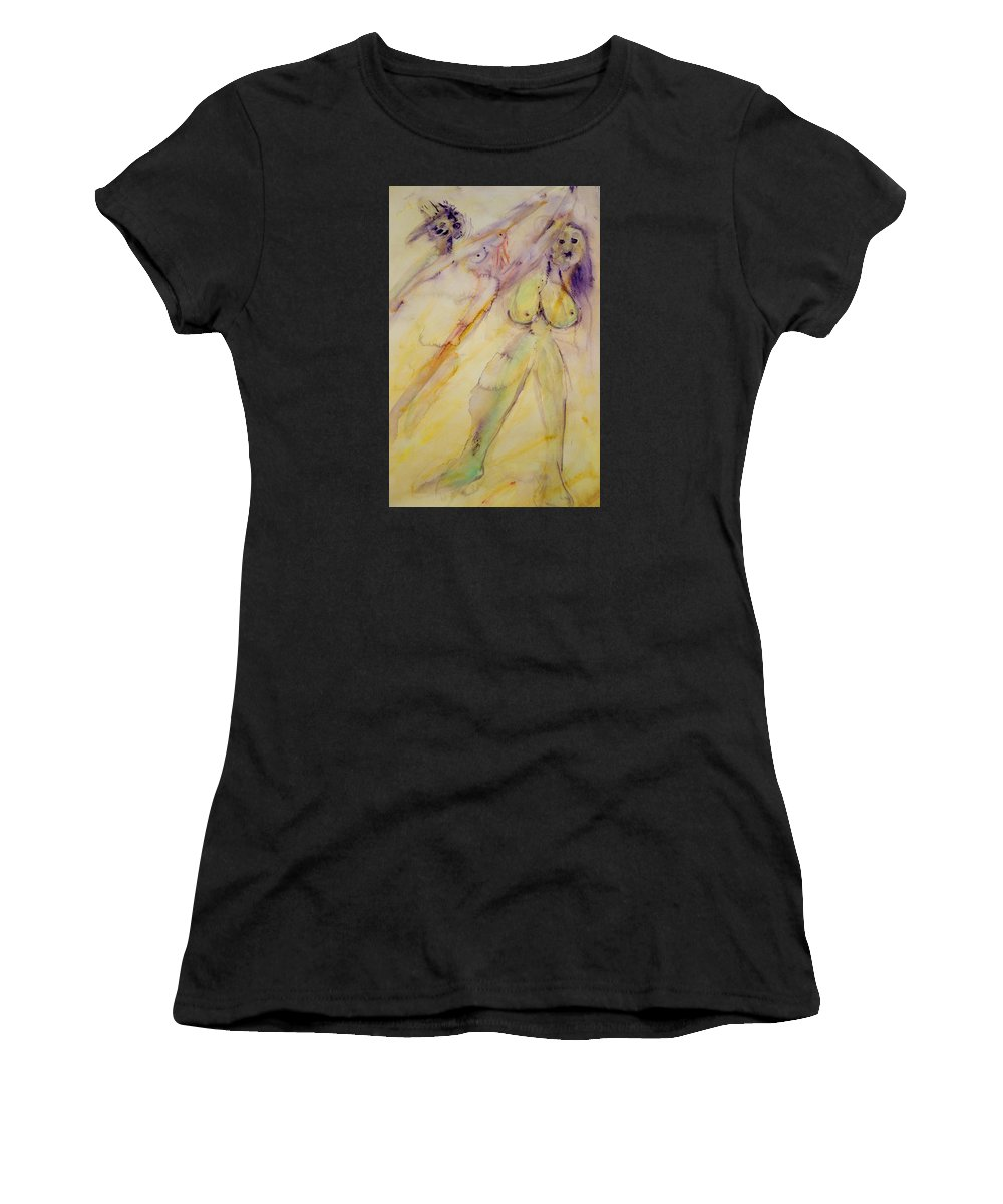 Girls Women's T-Shirt featuring the painting We Girls Always Had To Fight For Our Rights But Did We Ever Win by Hilde Widerberg