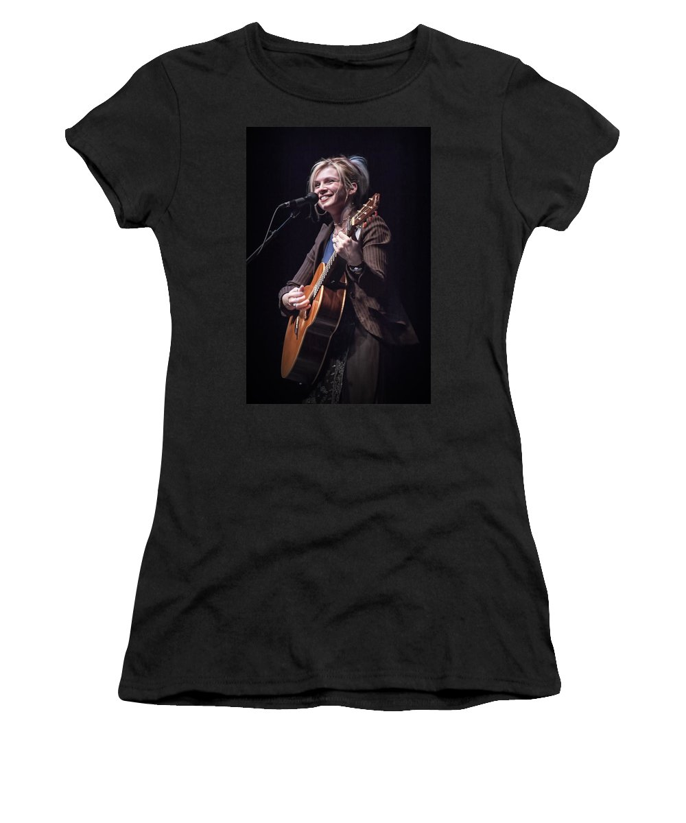 Art Women's T-Shirt featuring the photograph Karin Bergquist Lead Singer Of Over The Rhine by Randall Nyhof