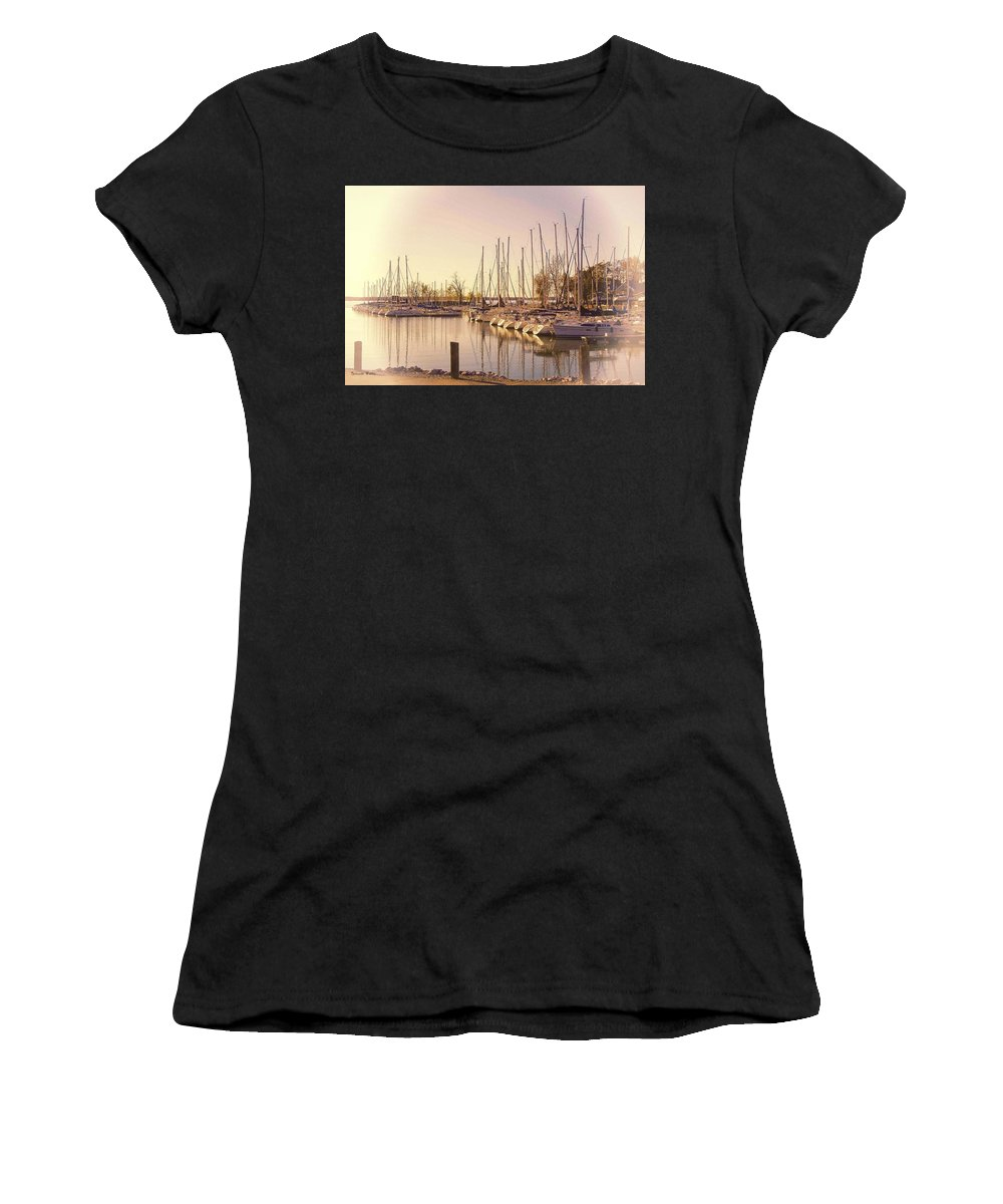 Boats Women's T-Shirt (Athletic Fit) featuring the photograph Kentucky Lake Sail Boats by Bonnie Willis