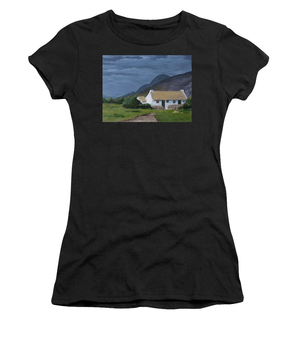 Landscape Women's T-Shirt featuring the painting Kerry Cottage by Tony Gunning