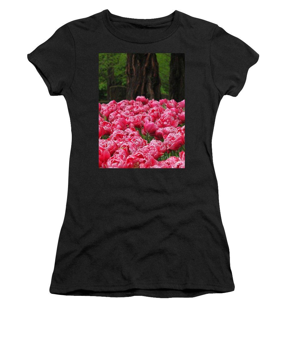Keukenhof Gardens Women's T-Shirt featuring the photograph Keukenhof Gardens 16 by Mike Nellums
