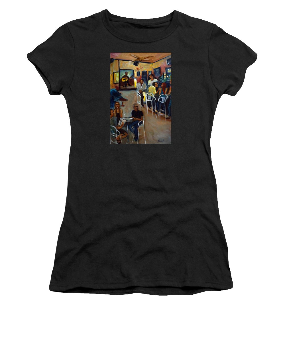 Art Bar Women's T-Shirt (Athletic Fit) featuring the painting Kevro's Art Bar by Valerie Vescovi