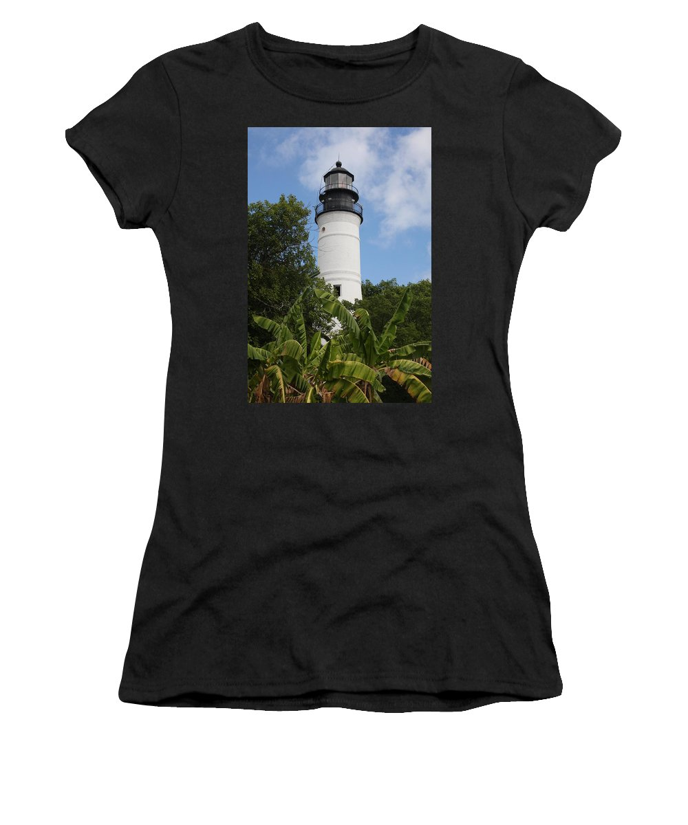 Ligthouse Women's T-Shirt (Athletic Fit) featuring the photograph Key West Lighthouse by Christiane Schulze Art And Photography