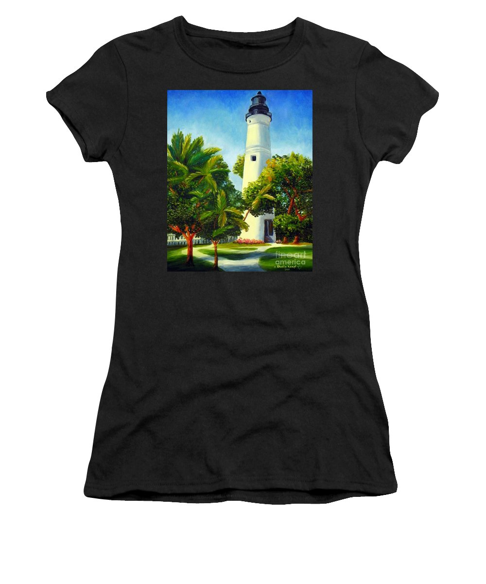 Art Women's T-Shirt (Athletic Fit) featuring the painting Key West Lighthouse by Shelia Kempf