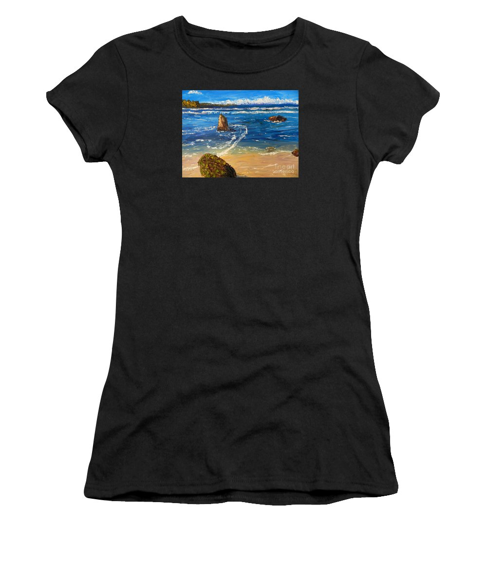 Impressionism Women's T-Shirt featuring the painting Kiama Beach by Pamela Meredith