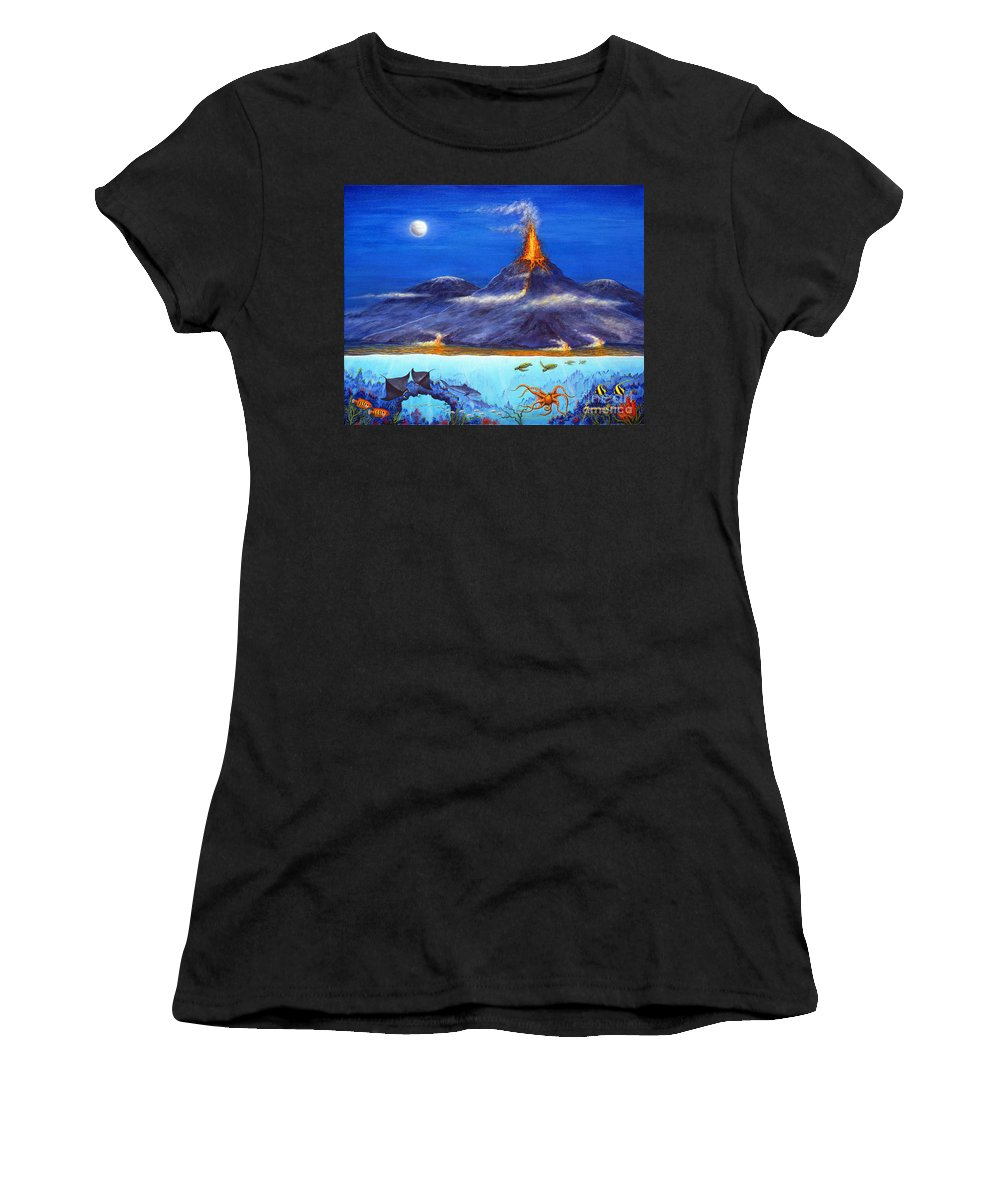 Kilauea Women's T-Shirt (Athletic Fit) featuring the painting Kilauea Volcano Hawaii by Jerome Stumphauzer