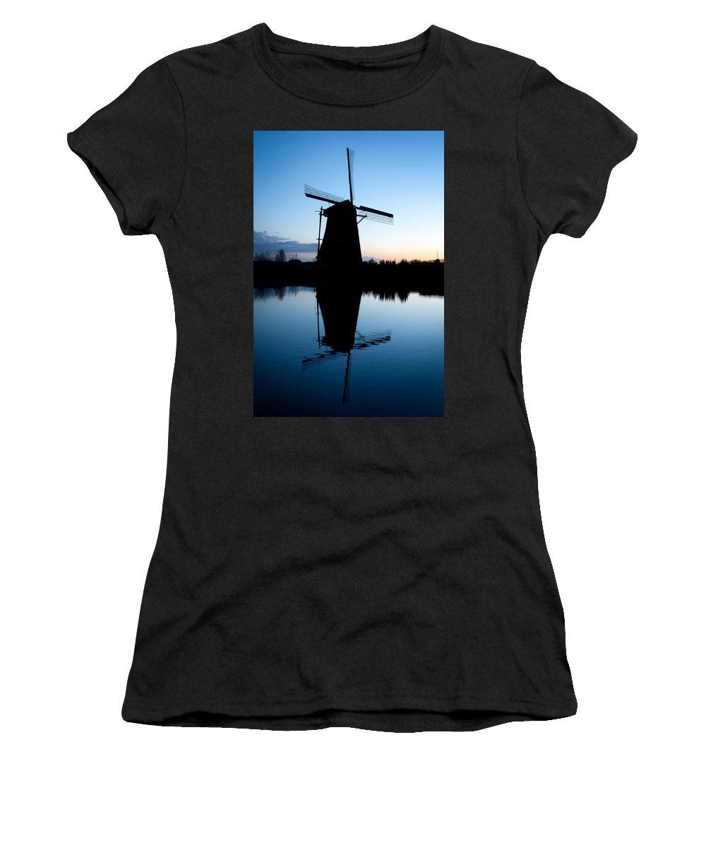 Kinderdijk Women's T-Shirt (Athletic Fit) featuring the photograph Kinderdijk Dawn by Dave Bowman