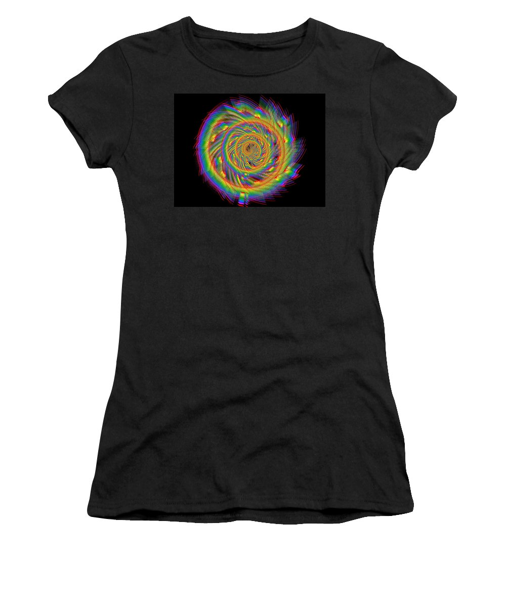 Abstract Women's T-Shirt featuring the digital art Kinetic Rainbow 60 by Tim Allen