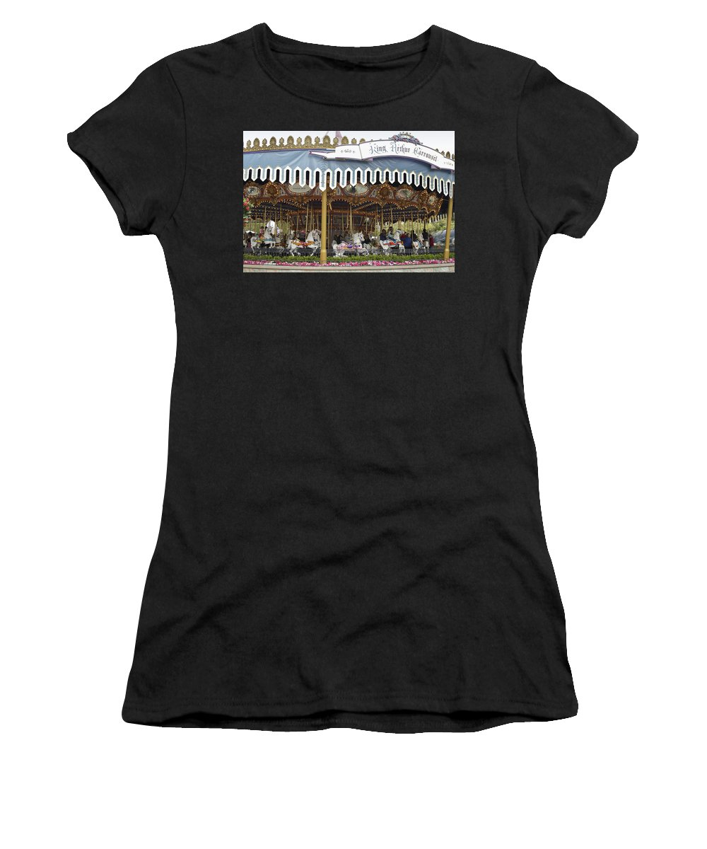 Disney Women's T-Shirt (Athletic Fit) featuring the photograph King Arthur Carrousel Fantasyland Disneyland by Thomas Woolworth