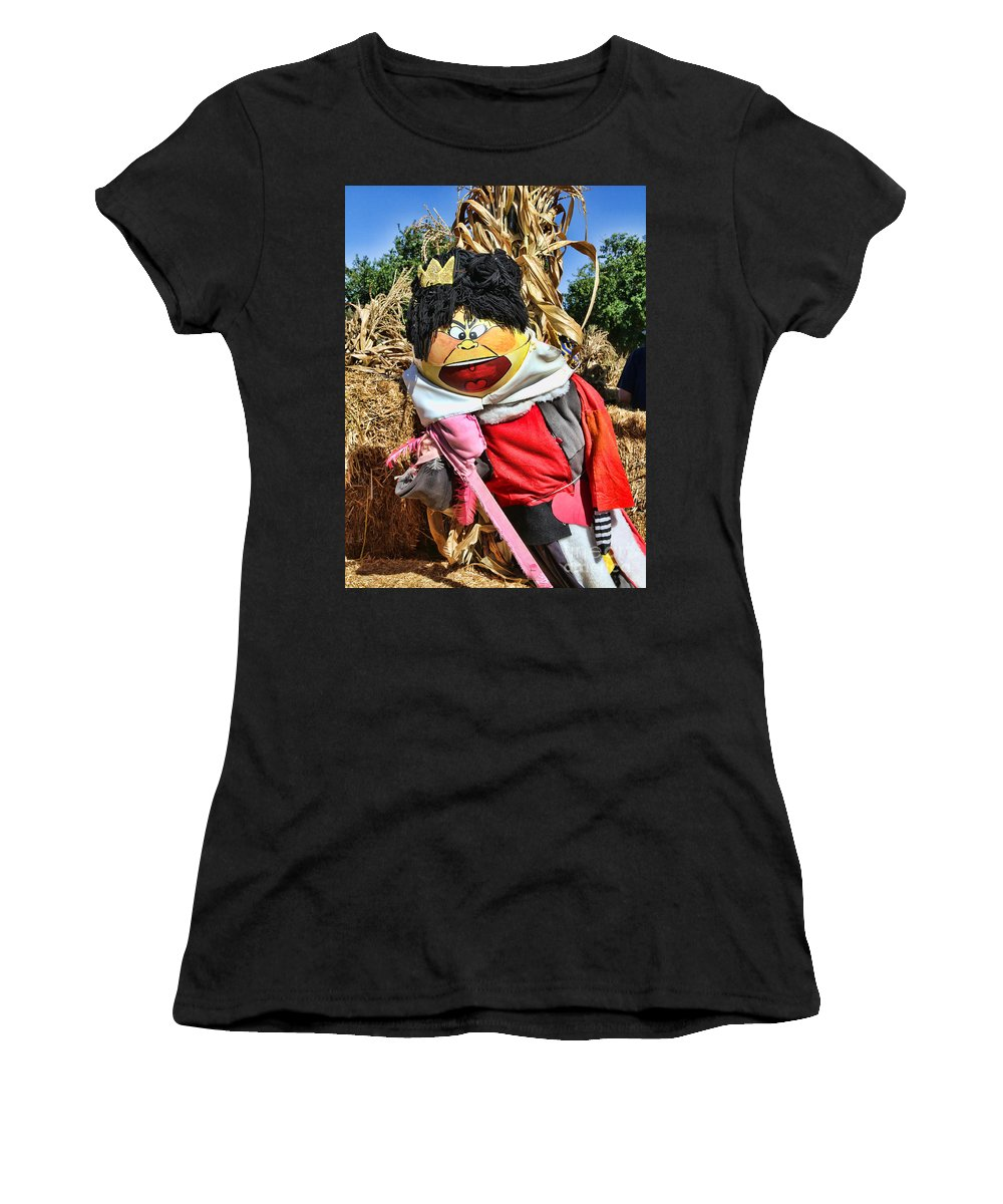 Pumpkin Women's T-Shirt (Athletic Fit) featuring the photograph King Of Hearts Scarecrow By Diana Sainz by Diana Raquel Sainz