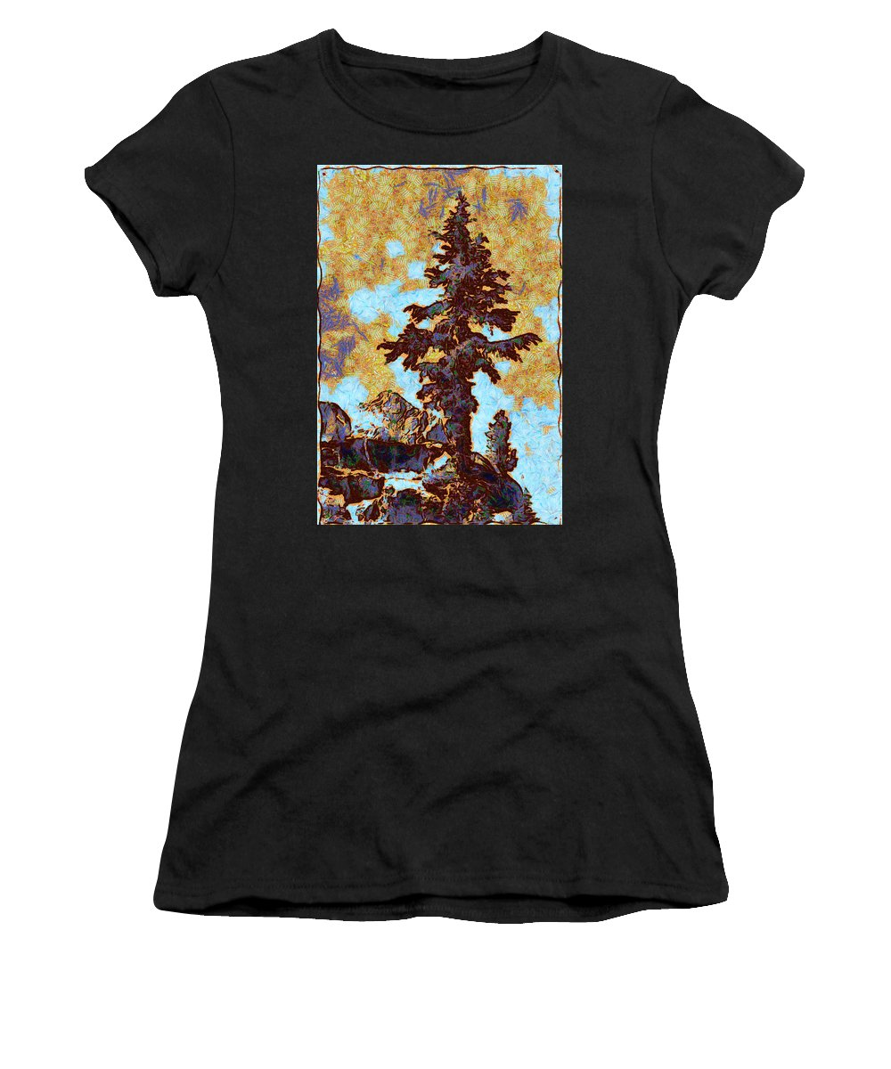 Ansel Easton Adams (february 20 Women's T-Shirt (Athletic Fit) featuring the digital art Kings River Canyon Colorized by Ansel Adams