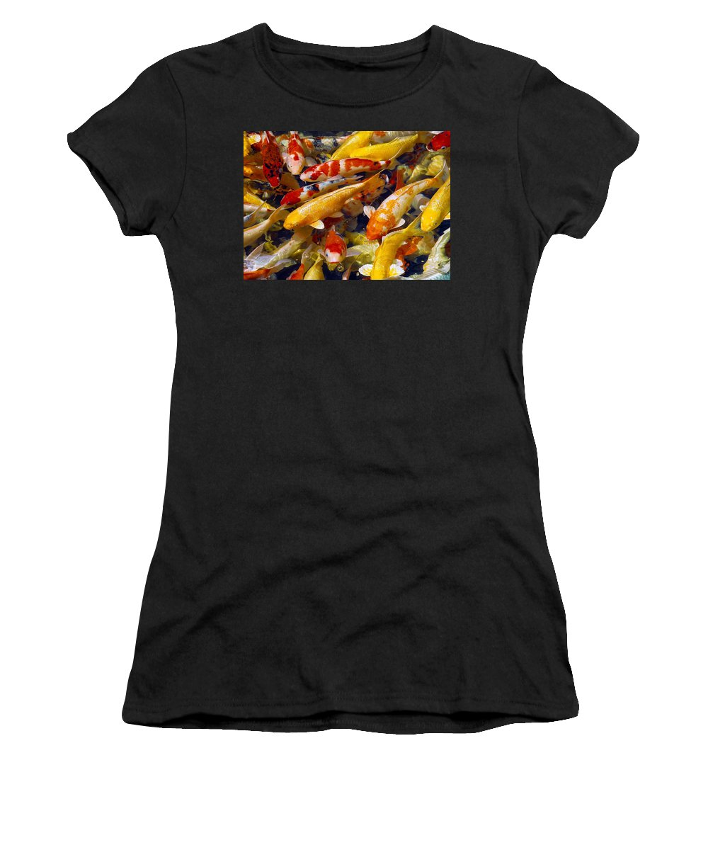Koi Women's T-Shirt (Athletic Fit) featuring the photograph Koi Pond 2 by Marie Hicks
