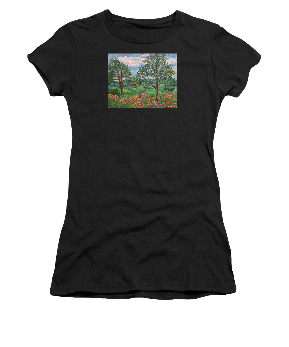 Landscape Women's T-Shirt (Athletic Fit) featuring the painting Kraft Avenue In Blacksburg by Kendall Kessler