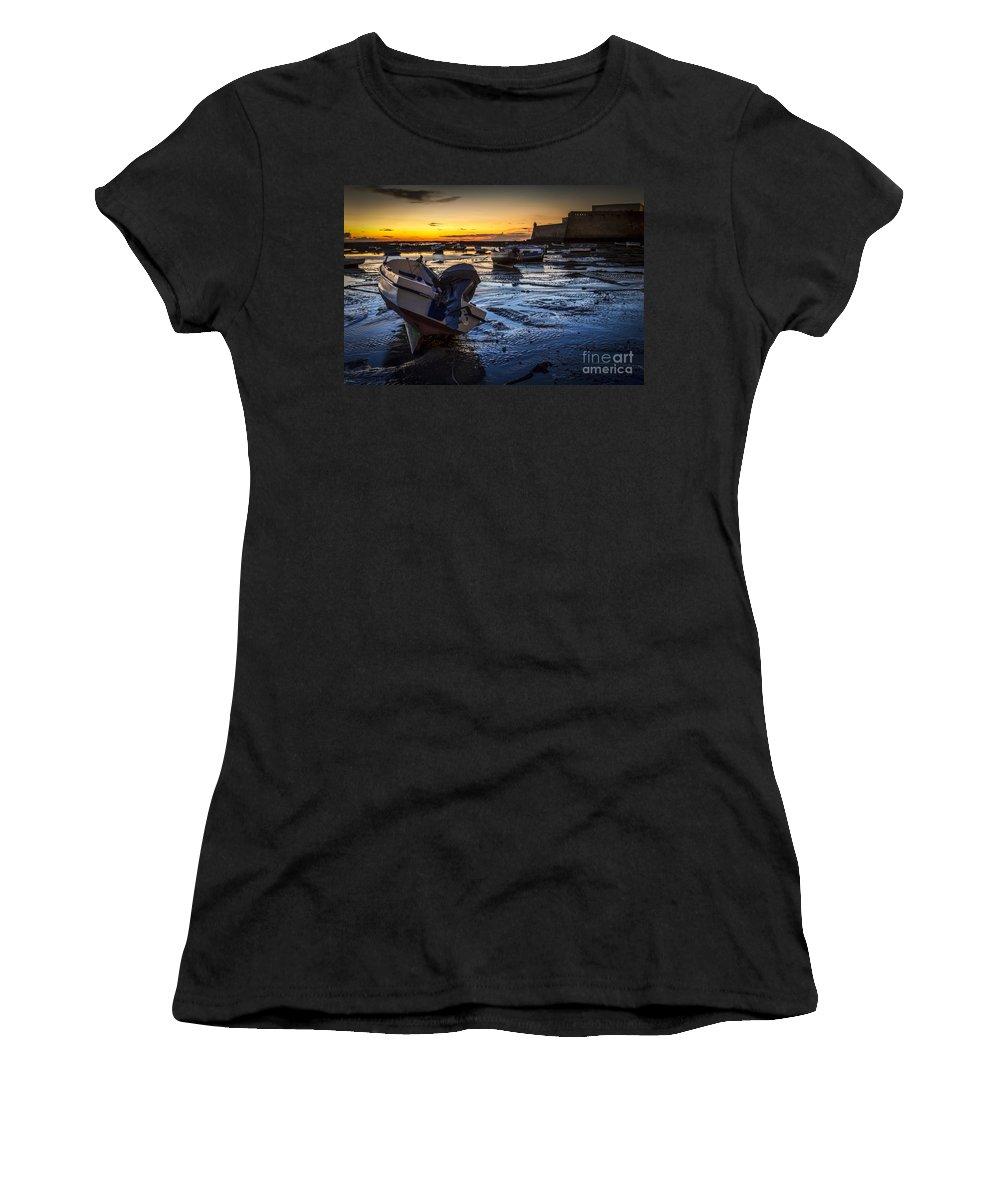 Andalucia Women's T-Shirt (Athletic Fit) featuring the photograph La Caleta Beach Cadiz Spain by Pablo Avanzini