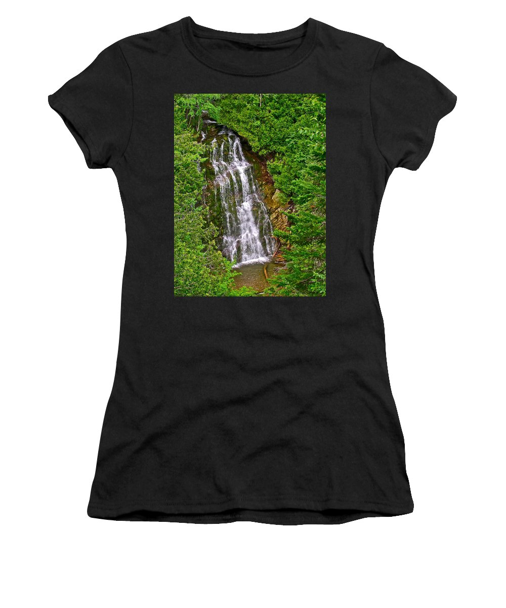 La Chute In Forillon Np In Forillon Np Women's T-Shirt (Athletic Fit) featuring the photograph La Chute In Forillon Np-qc by Ruth Hager