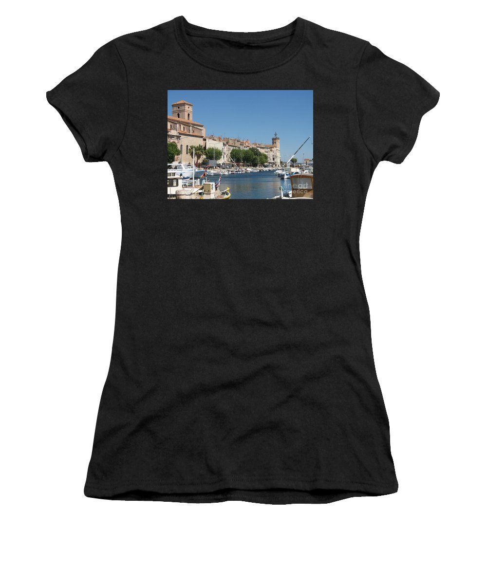 Habor Women's T-Shirt (Athletic Fit) featuring the photograph La Ciotat Harbor by Christiane Schulze Art And Photography