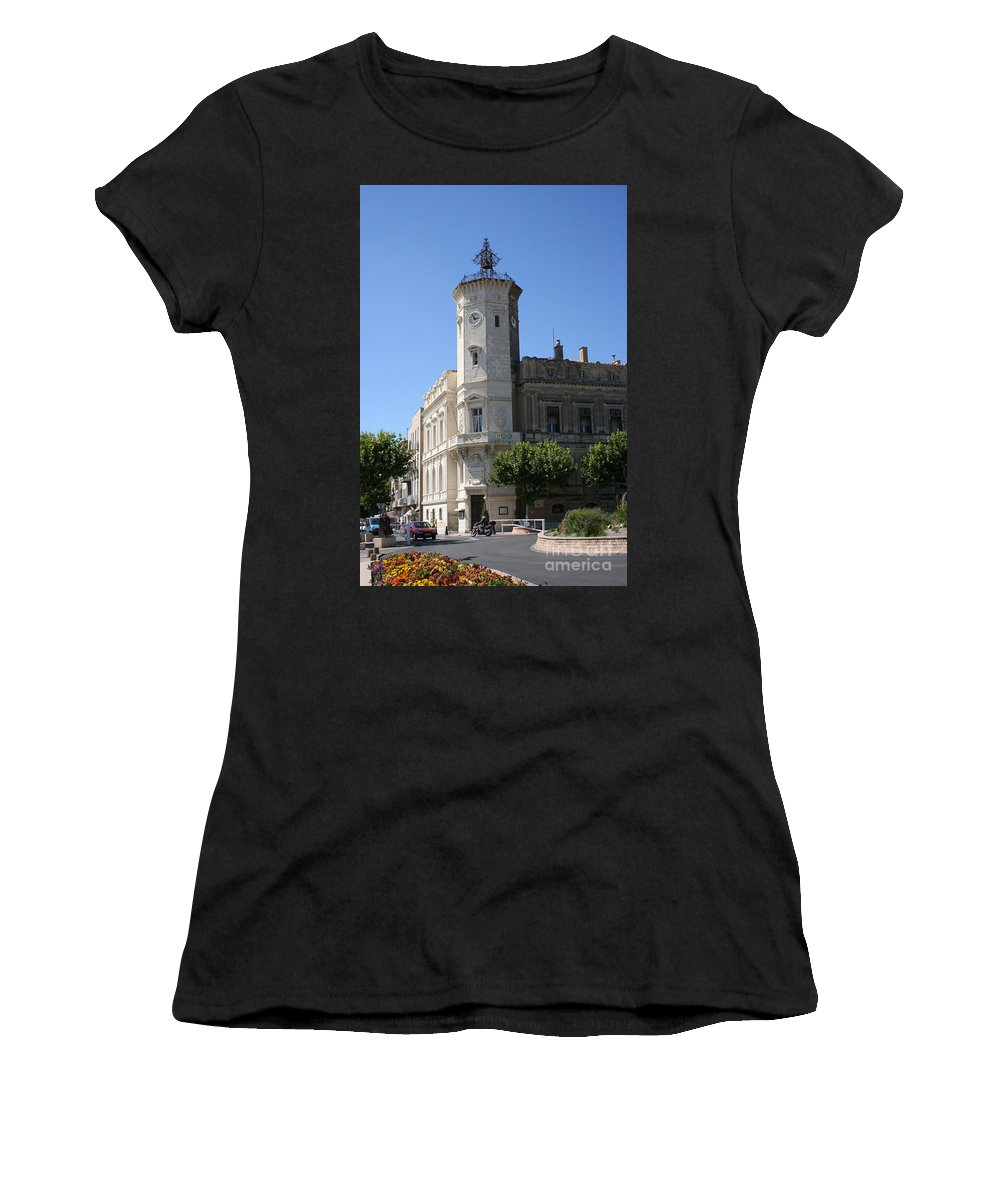 City Hall Women's T-Shirt (Athletic Fit) featuring the photograph La Ciotat Provence- Alpes- Cote D'azur by Christiane Schulze Art And Photography