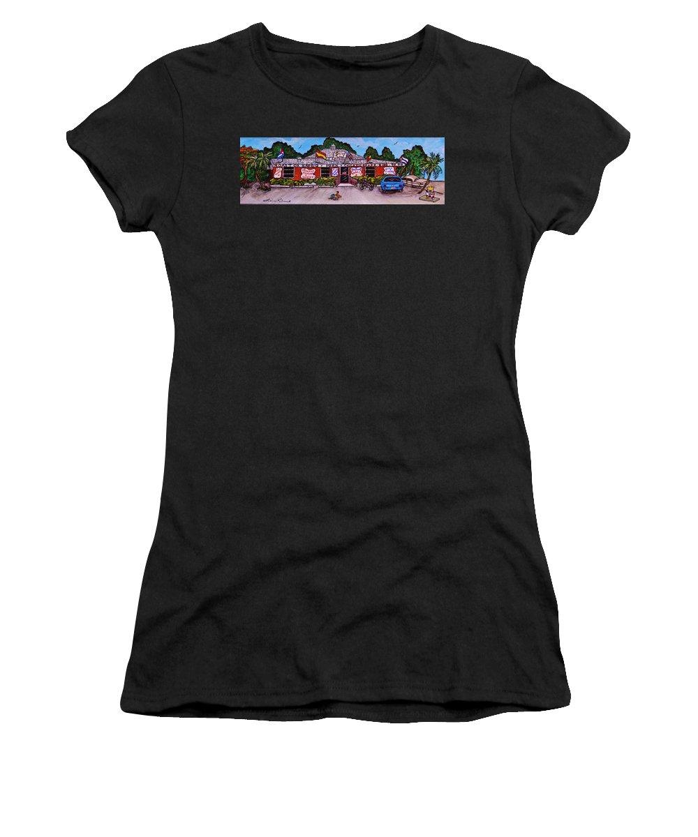 Restaurant Women's T-Shirt (Athletic Fit) featuring the painting La Lechonera Restaurant Key West Florida by Lois  Rivera