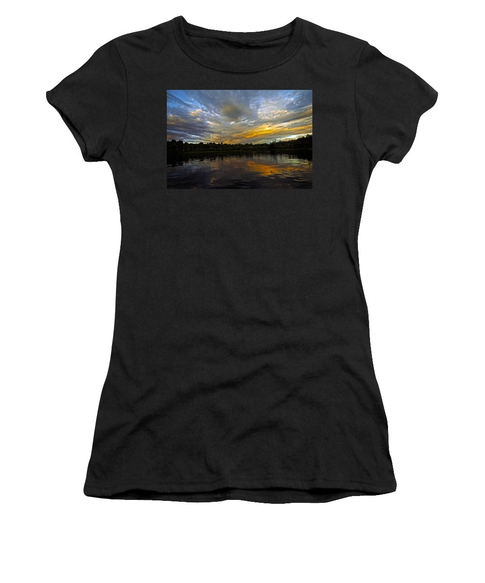 Sunset Women's T-Shirt featuring the photograph Lagoon Sunset In The Jungle by Kurt Van Wagner