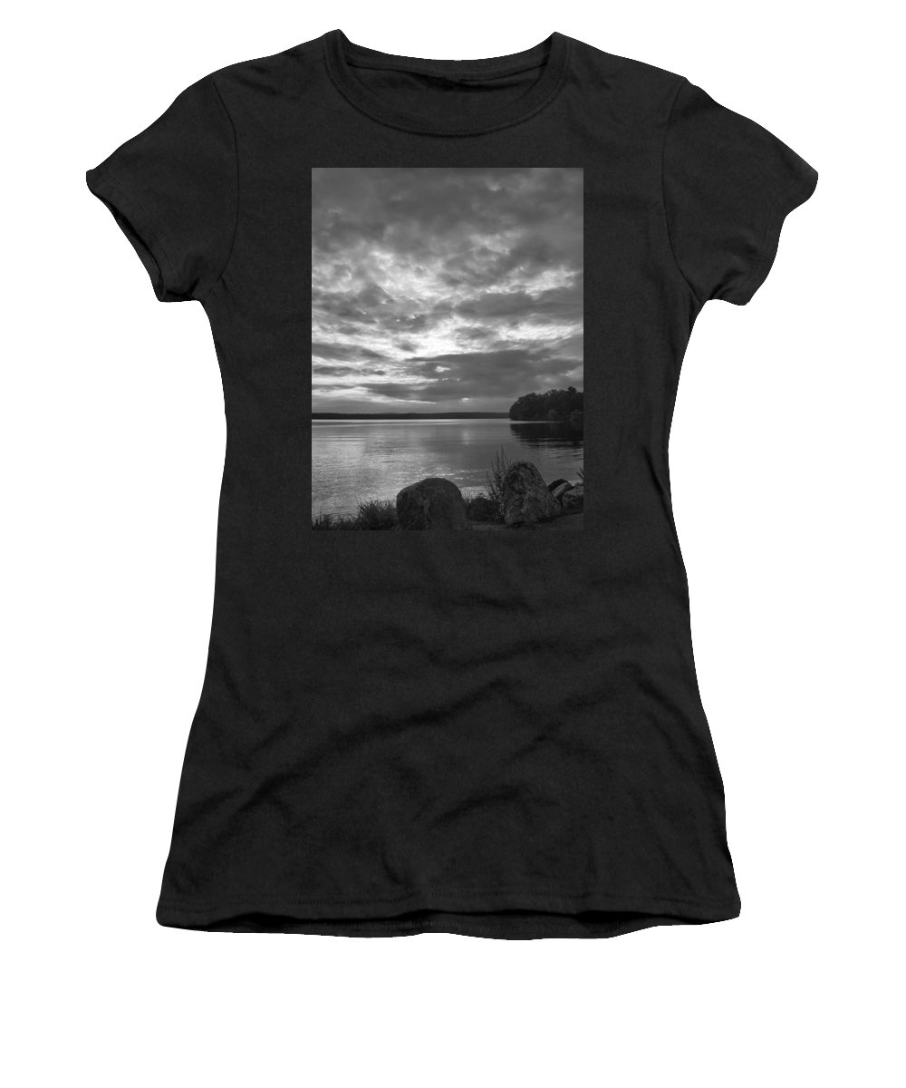 Body Of Water Women's T-Shirt (Athletic Fit) featuring the photograph Lake Auburn 7p00297 by Guy Whiteley