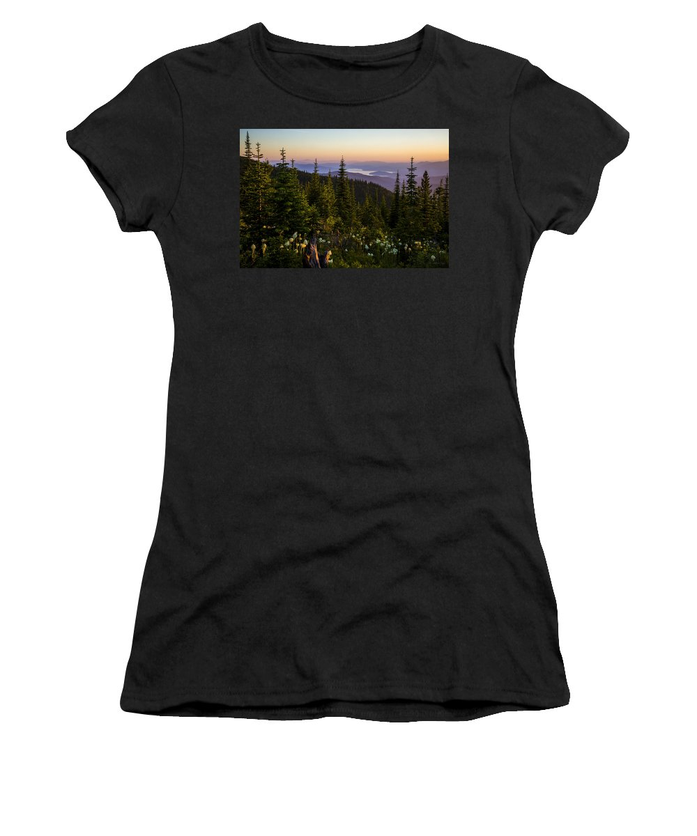 Landscape Women's T-Shirt featuring the photograph 140701a-042 Lake Pend Oreille From The Cabinets by Albert Seger