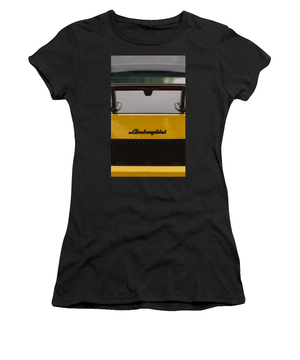 Car Women's T-Shirt (Athletic Fit) featuring the photograph Lambo Logo Yellow by Scott Campbell