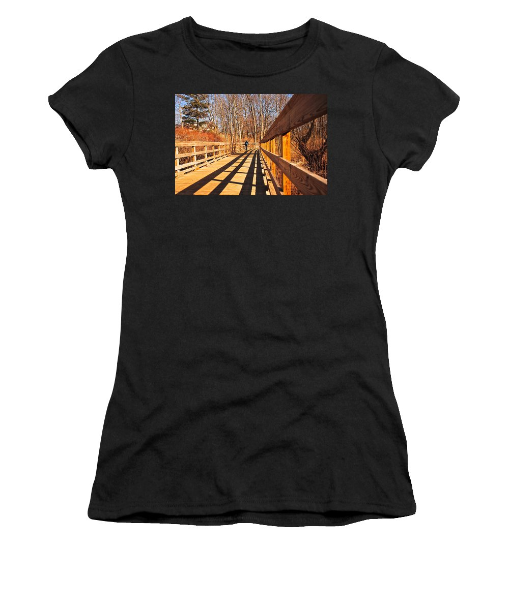 Boardwalk Women's T-Shirt featuring the photograph Lance Rides On by Frozen in Time Fine Art Photography